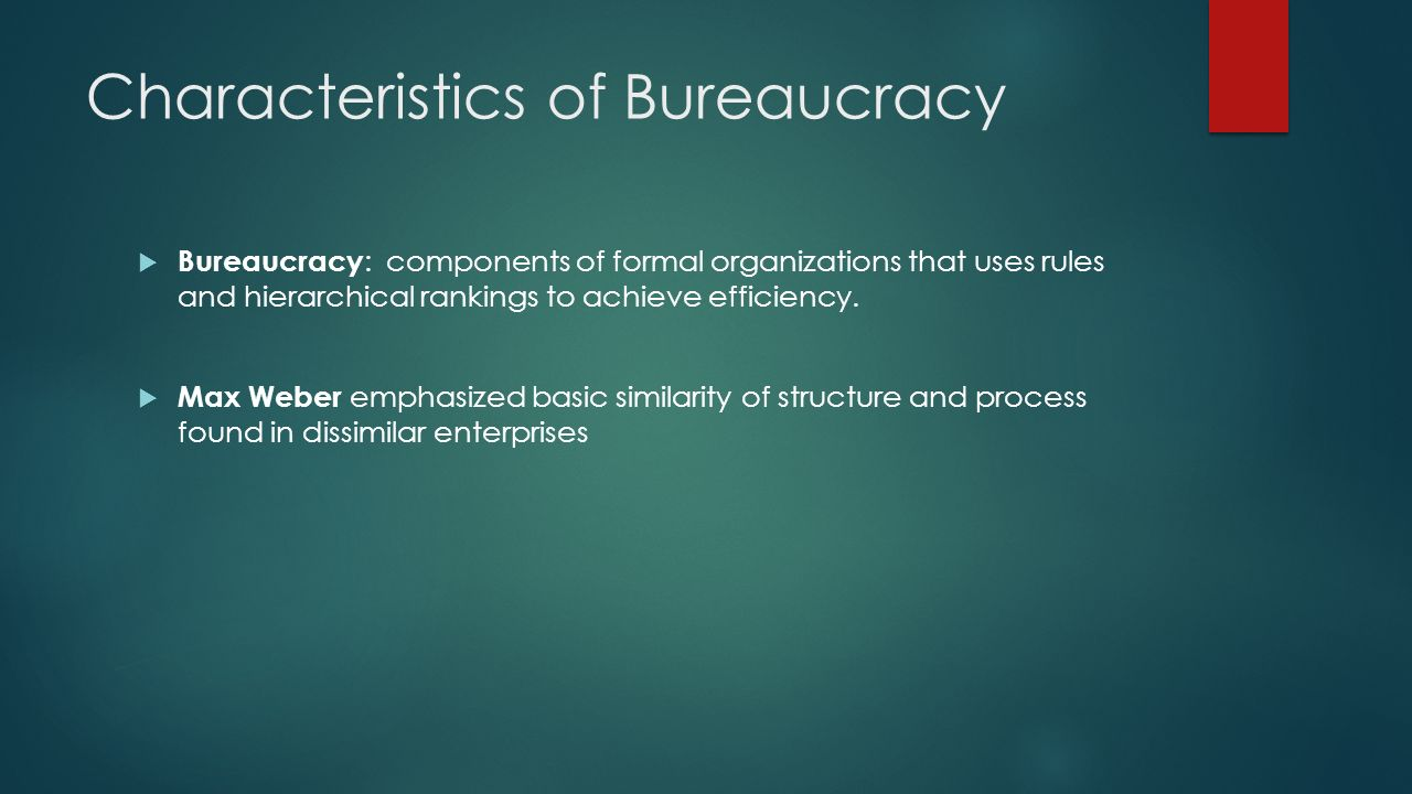 Characteristics of a Bureacracy  Division of Labor  Fragmentation of work  Specialized experts Alienation: Condition of estrangement or disassociation George Tooker: https://www.youtube.com/watch?v=TypEb0tbFhohttps://www.youtube.com/watch?v=TypEb0tbFho Trained Incapacity: workers develop blind spots