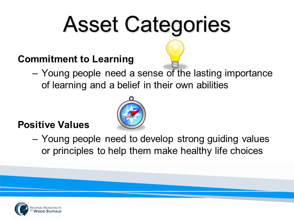 Asset Categories Commitment to Learning –Young people need a sense of the lasting importance of learning and a belief in their own abilities Positive Values –Young people need to develop strong guiding values or principles to help them make healthy life choices