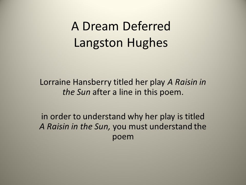 essay of the dream defferred Dreams deferred in raisin in the sun lorraine hansberry, the author of a raisin in the sun, supports the theme of her play from a montage of, a dream deferred, by langston hughes.