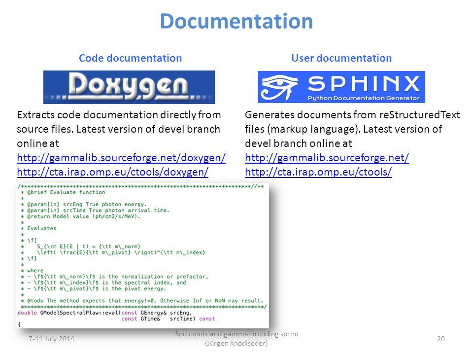7-11 July 2014 3nd ctools and gammalib coding sprint (Jürgen Knödlseder) 20 Documentation Code documentation User documentation Extracts code documentation directly from source files.
