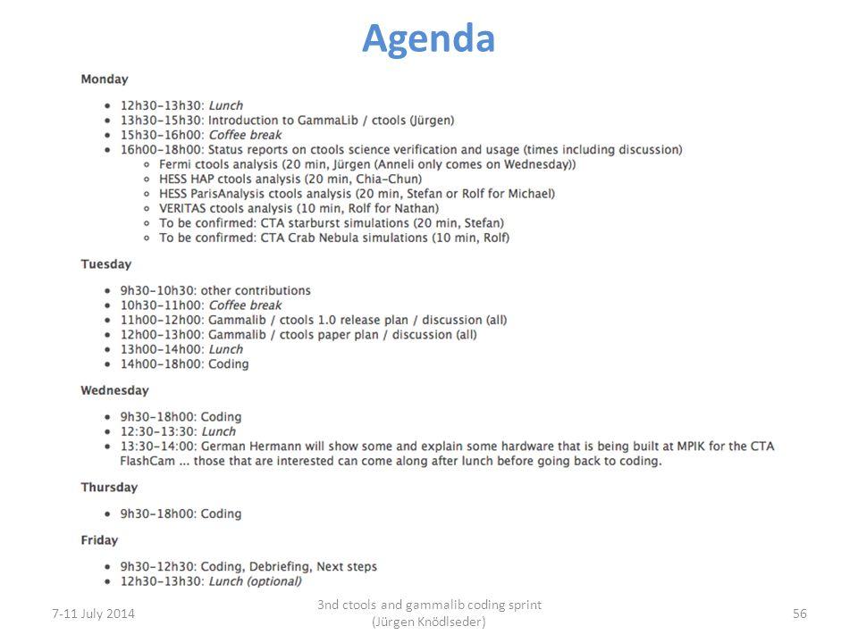Agenda 7-11 July 2014 3nd ctools and gammalib coding sprint (Jürgen Knödlseder) 56