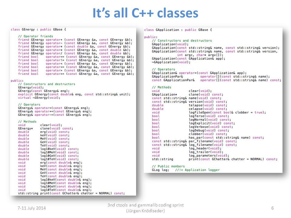 It's all C++ classes 7-11 July 2014 3nd ctools and gammalib coding sprint (Jürgen Knödlseder) 6