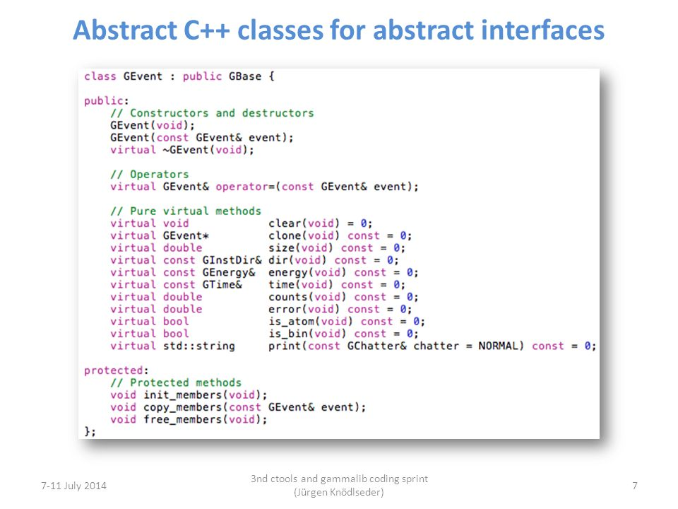 Abstract C++ classes for abstract interfaces 7-11 July 2014 3nd ctools and gammalib coding sprint (Jürgen Knödlseder) 7
