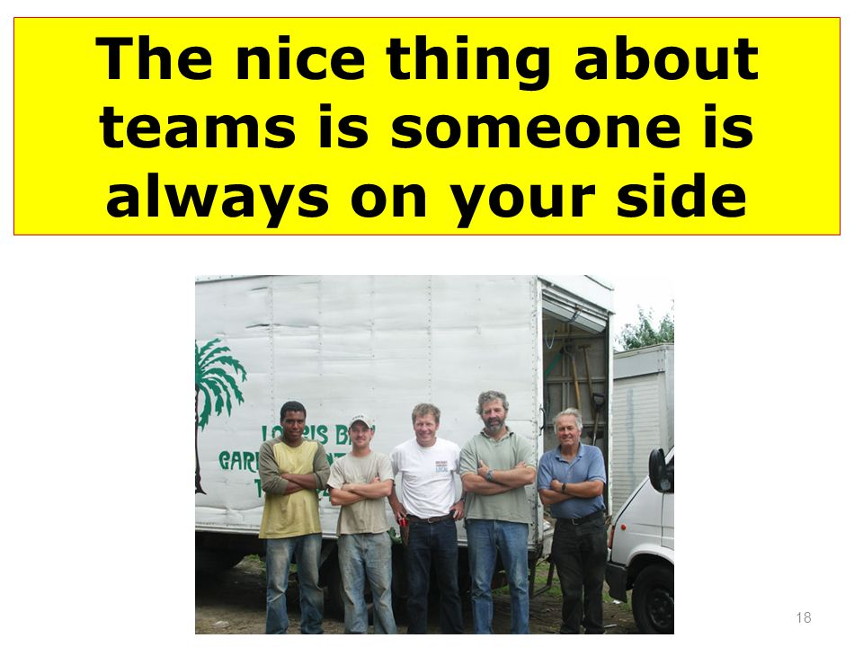 The nice thing about teams is someone is always on your side 18