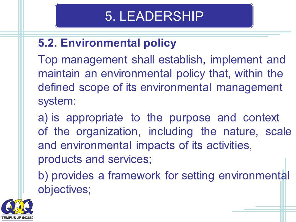 5. LEADERSHIP 5.2.