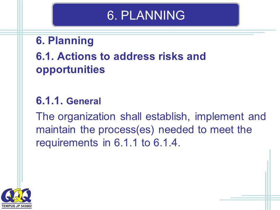 6. PLANNING 6. Planning 6.1. Actions to address risks and opportunities 6.1.1.