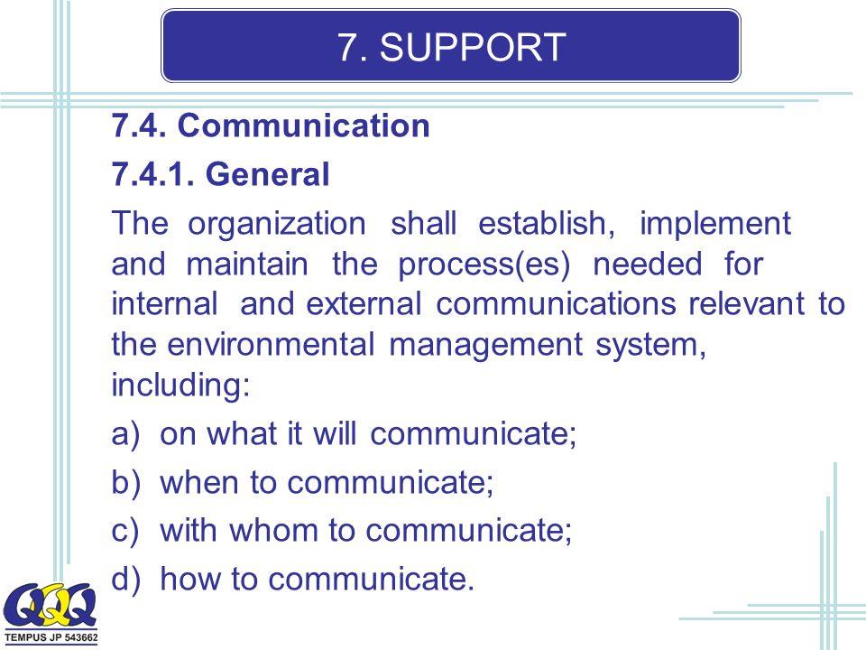 7. SUPPORT 7.4. Communication 7.4.1.