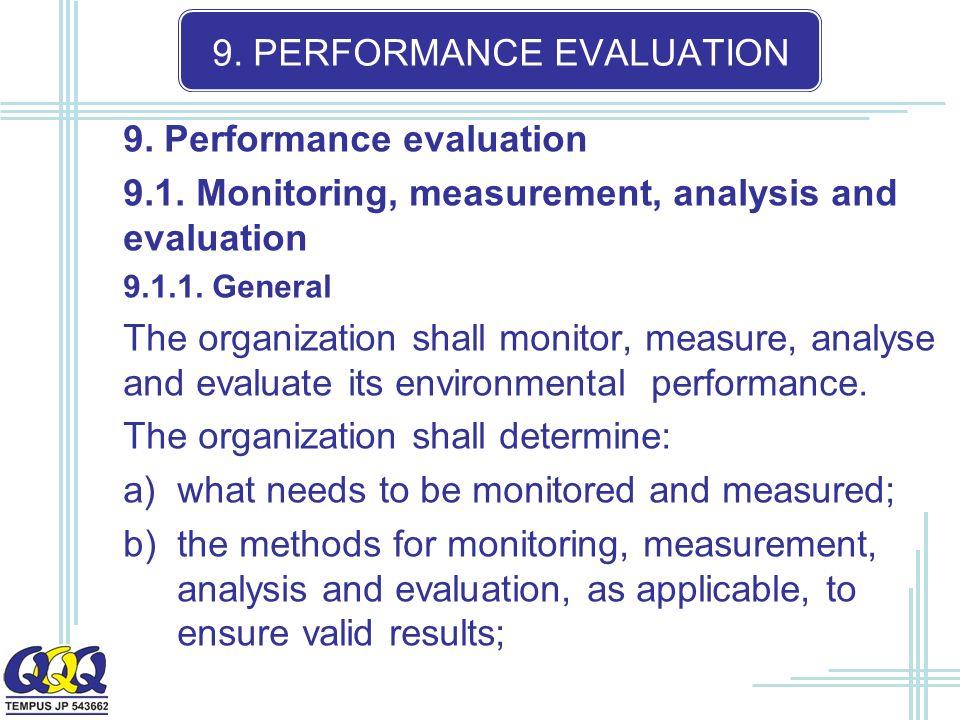 9. PERFORMANCE EVALUATION 9. Performance evaluation 9.1.