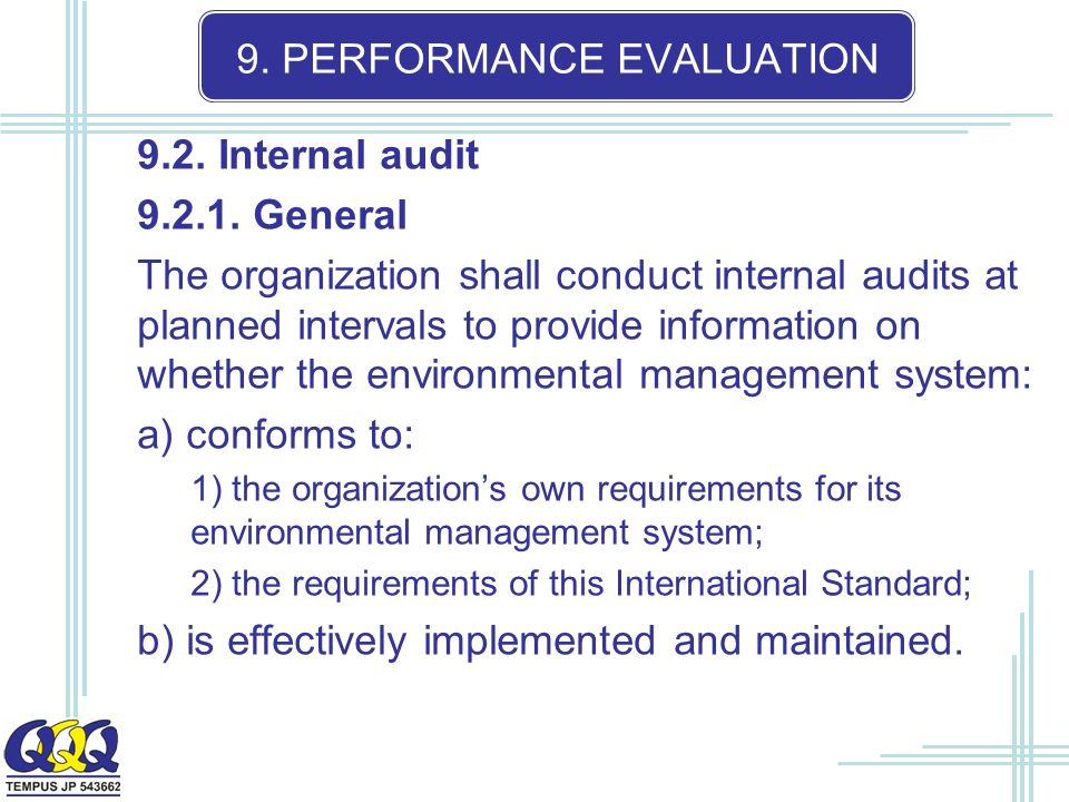 9. PERFORMANCE EVALUATION 9.2. Internal audit 9.2.1.