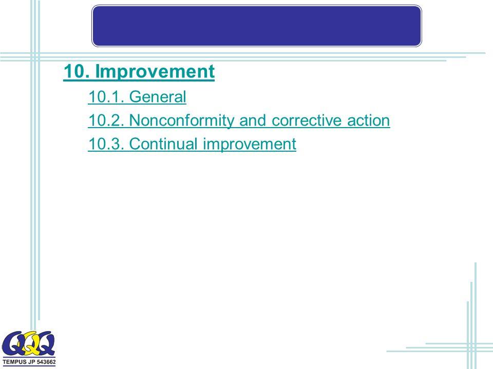 10. Improvement 10.1. General 10.2. Nonconformity and corrective action 10.3. Continual improvement