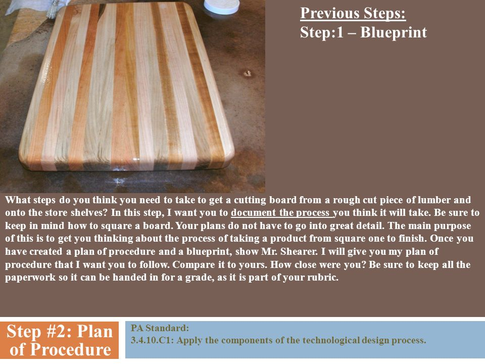 The cutting board plan of procedure step 1 blueprint you need to step 2 plan of procedure pa standard 3410c1 malvernweather Choice Image