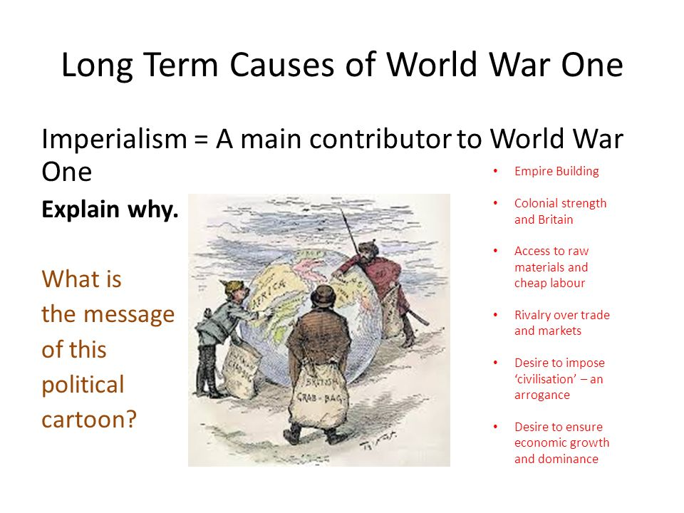 a report on the causes of world war i Causes of impending war used subjects to fight to a european war establish new world dominance battle of gallipoli world war i legacy.