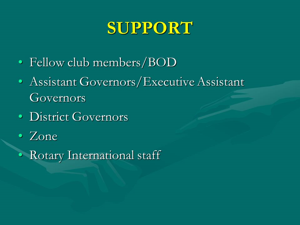 SUPPORT Fellow club members/BODFellow club members/BOD Assistant Governors/Executive Assistant GovernorsAssistant Governors/Executive Assistant Governors District GovernorsDistrict Governors ZoneZone Rotary International staffRotary International staff