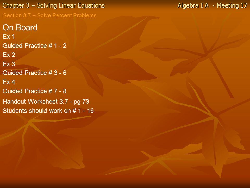 Solving Percent Problems Using Equations