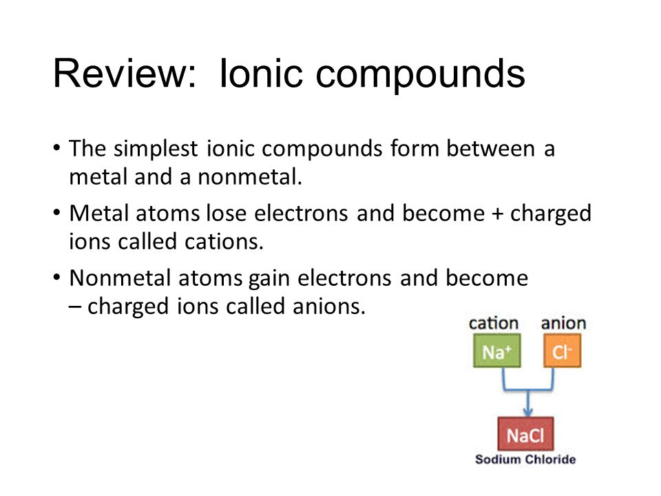 Formulas and Nomenclature (Naming). Review: Ionic compounds The ...