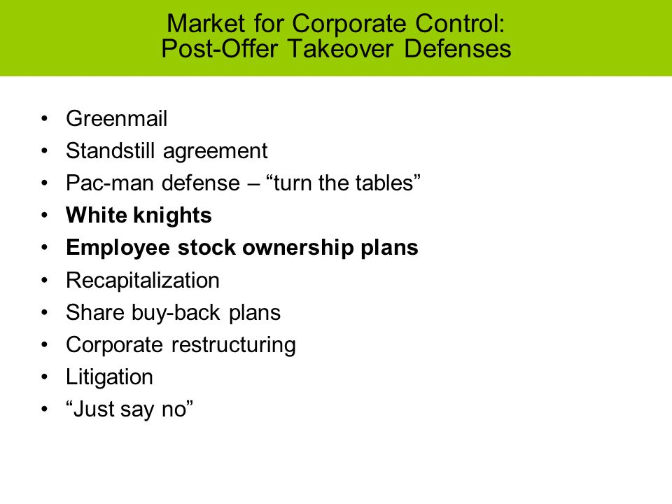 Chapter 3 the corporate takeover market common takeover tactics 22 market platinumwayz