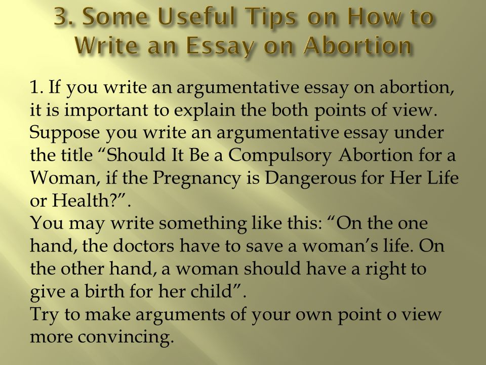an argumentative essay on abortion