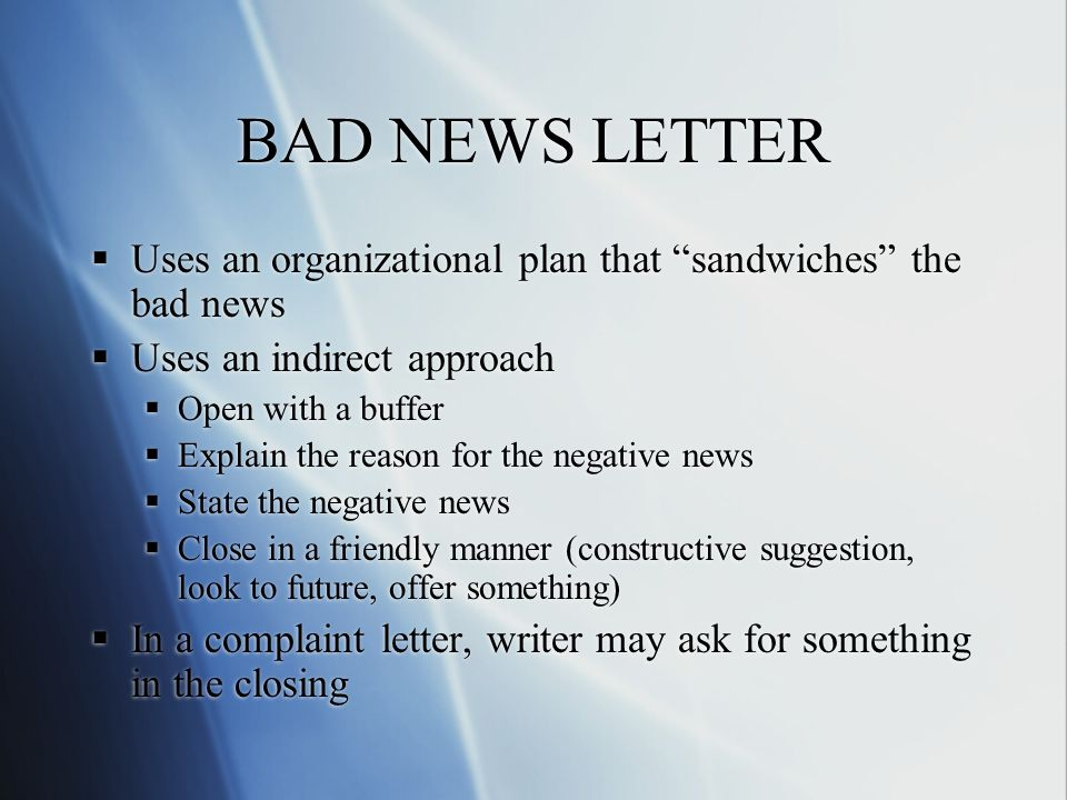 bad news letter 2 essay This assignment is for my organizational communication class, its to write a bad news letter i want from you to write 1 page paper following the professor instructions below:.