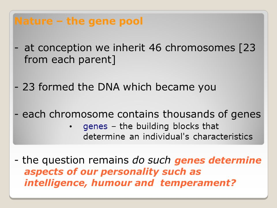 Nature – the gene pool -at conception we inherit 46 chromosomes [23 from each parent] - 23 formed the DNA which became you - each chromosome contains thousands of genes genes – the building blocks that determine an individual s characteristics - the question remains do such genes determine aspects of our personality such as intelligence, humour and temperament