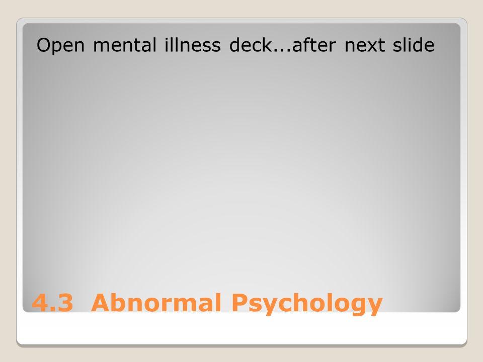 4.3 Abnormal Psychology Open mental illness deck...after next slide