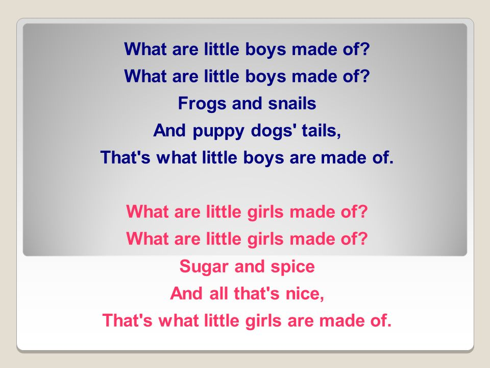 What are little boys made of.