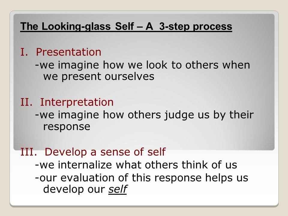 The Looking-glass Self – A 3-step process I.