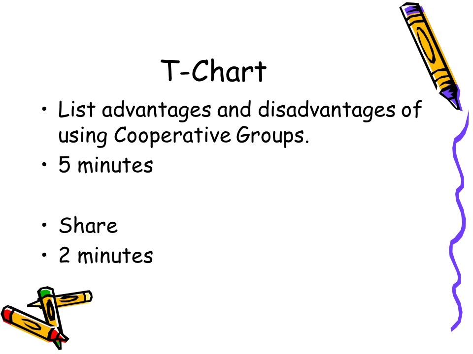 T-Chart List advantages and disadvantages of using Cooperative Groups. 5 minutes Share 2 minutes
