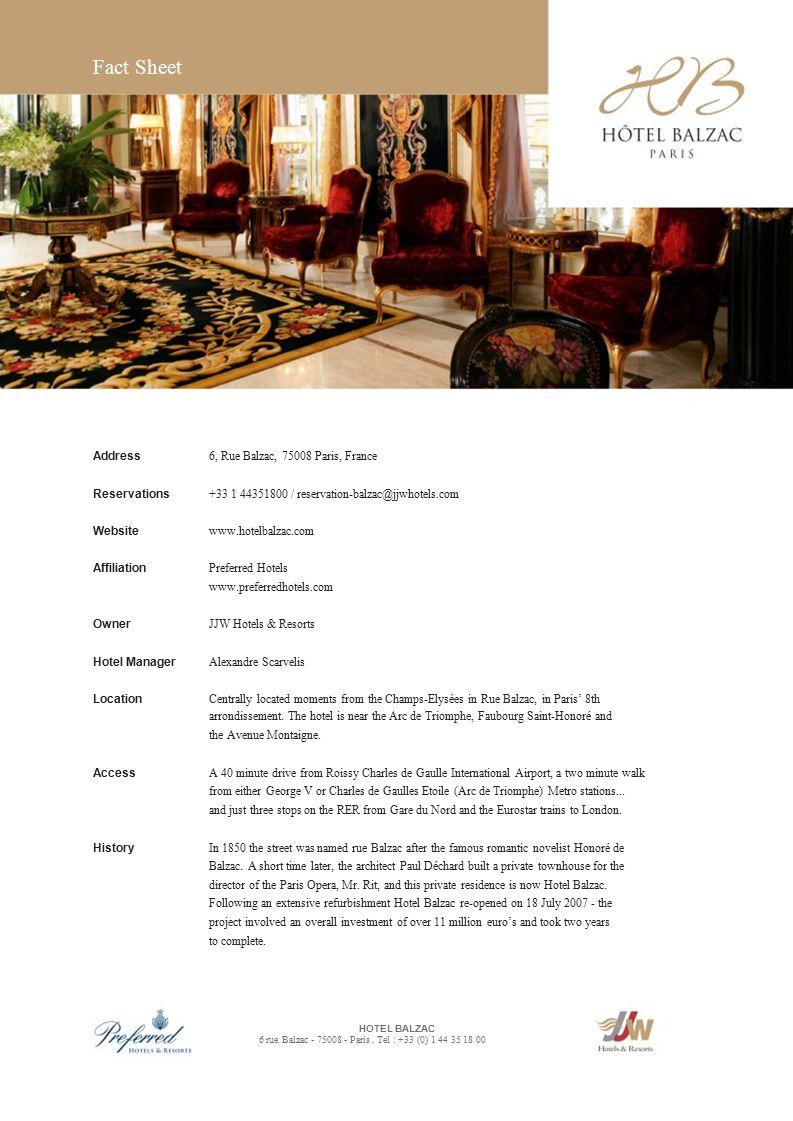 Fact Sheet HOTEL BALZAC 6 rue Balzac Paris. Tel : +33 (0) ppt download