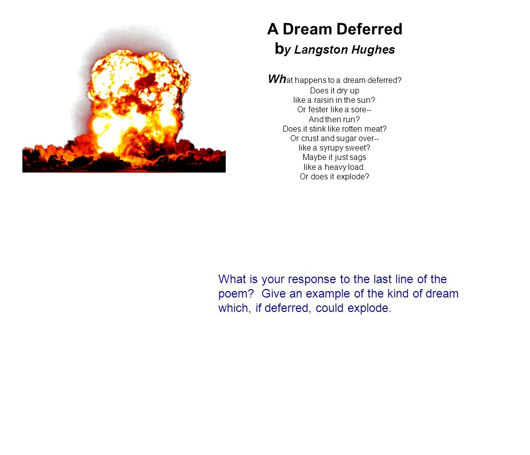 a dream deferred by langston hughes what is the main idea of this poem What happens to a dream deferred one of the most famous poems penned by harlem renaissance poet langston hughes written in 1951, this poem was the inspiration.