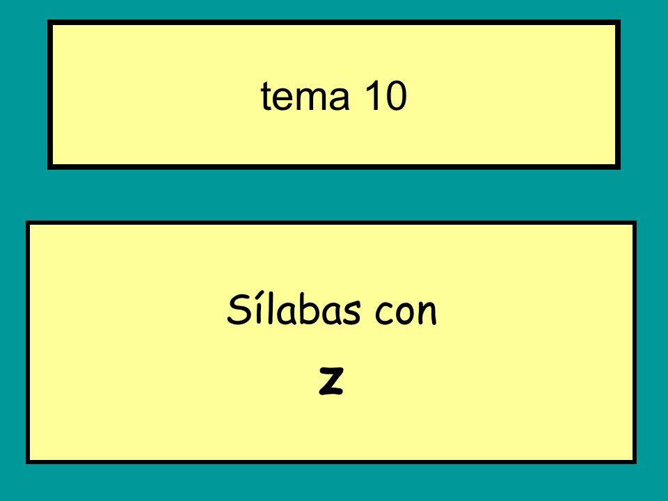 Sílabas con z tema 10