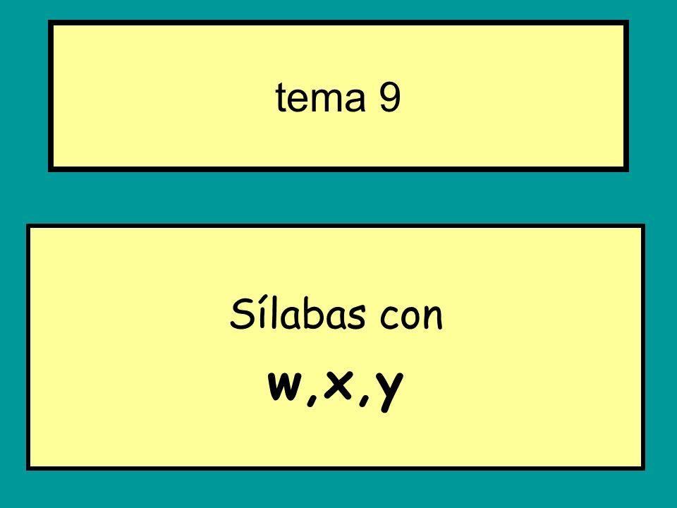 Sílabas con w,x,y tema 9