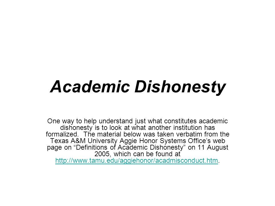 academic dishonesty one way to help understand just what  1 academic dishonesty