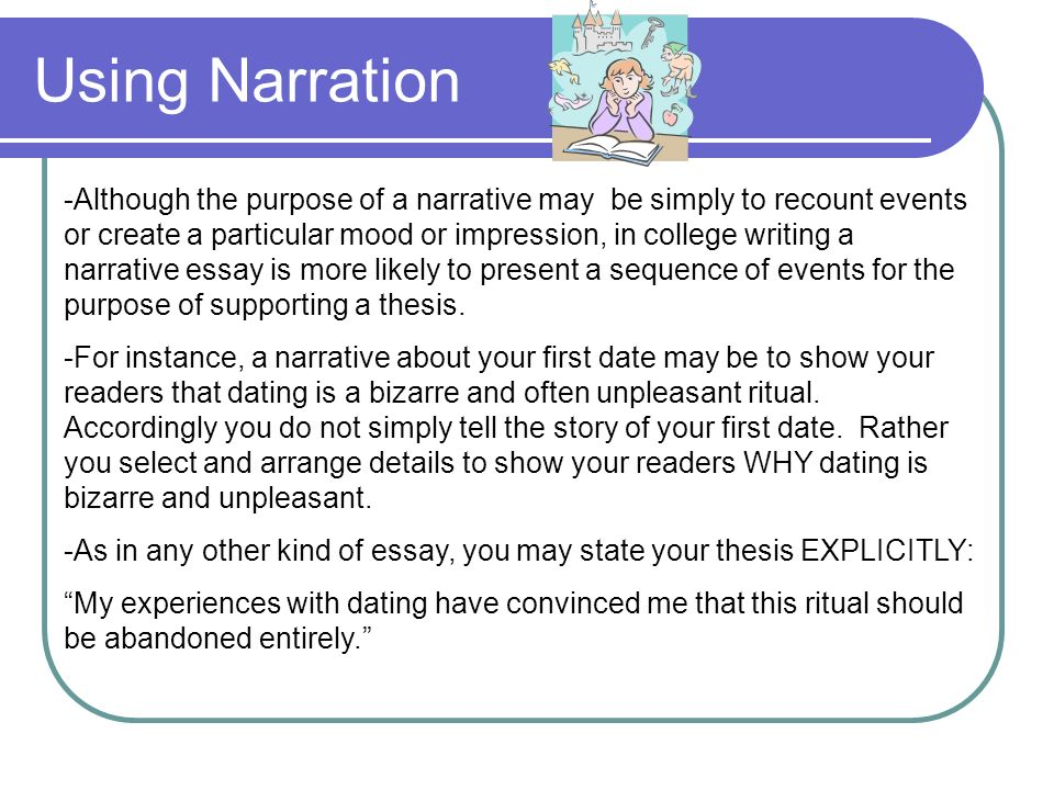 essay narration all information in this powerpoint unless using narration although the purpose of a narrative be simply to recount events or