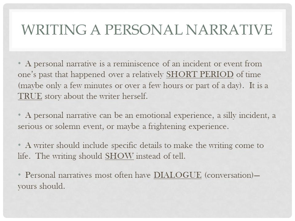 Writing personal narrative over..?