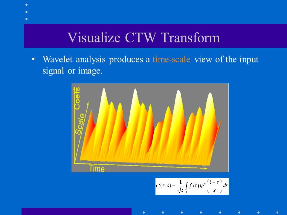 Visualize CTW Transform Wavelet analysis produces a time-scale view of the input signal or image.