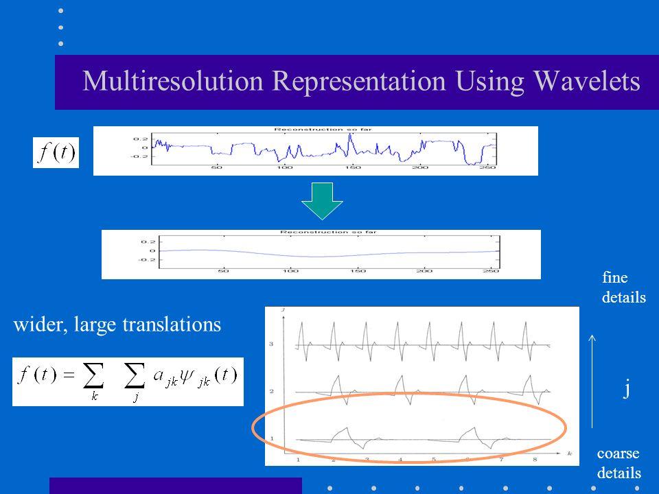 Multiresolution Representation Using Wavelets j fine details coarse details wider, large translations