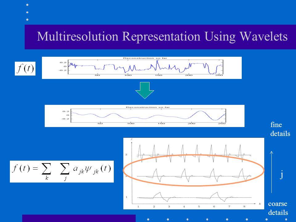 j fine details coarse details Multiresolution Representation Using Wavelets