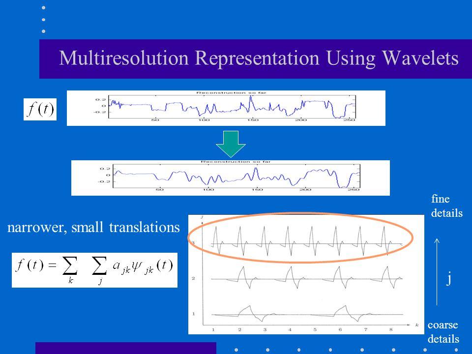 j fine details coarse details narrower, small translations Multiresolution Representation Using Wavelets