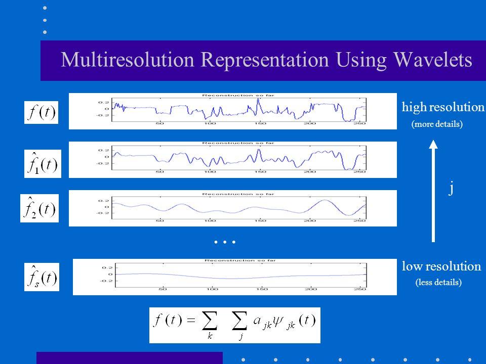 high resolution (more details) low resolution (less details) … j Multiresolution Representation Using Wavelets