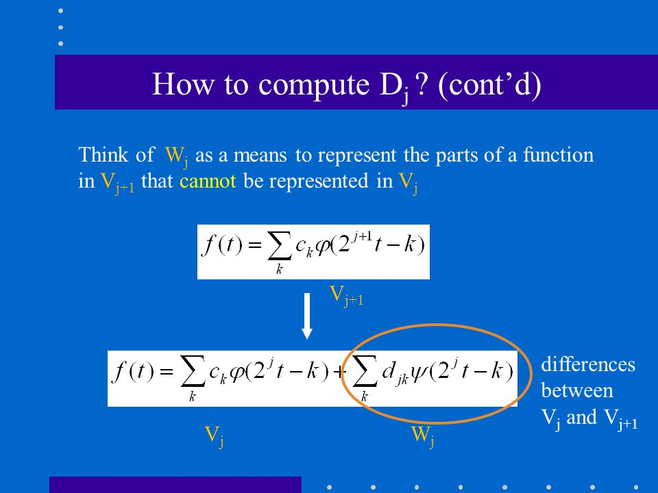 Think of W j as a means to represent the parts of a function in V j+1 that cannot be represented in V j V j W j How to compute D j .