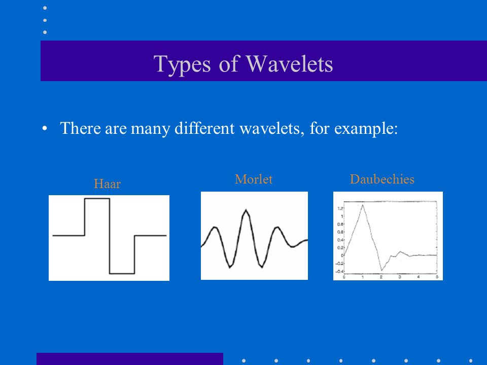 Types of Wavelets There are many different wavelets, for example: Morlet Haar Daubechies