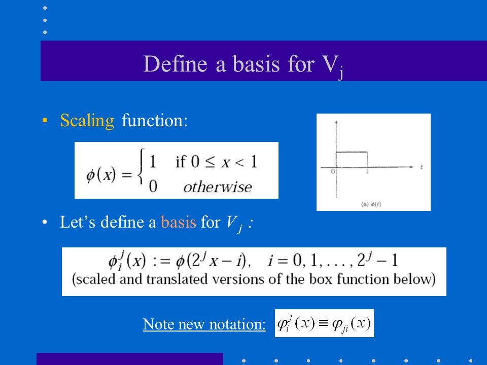 Define a basis for V j Scaling function: Let's define a basis for V j : Note new notation: