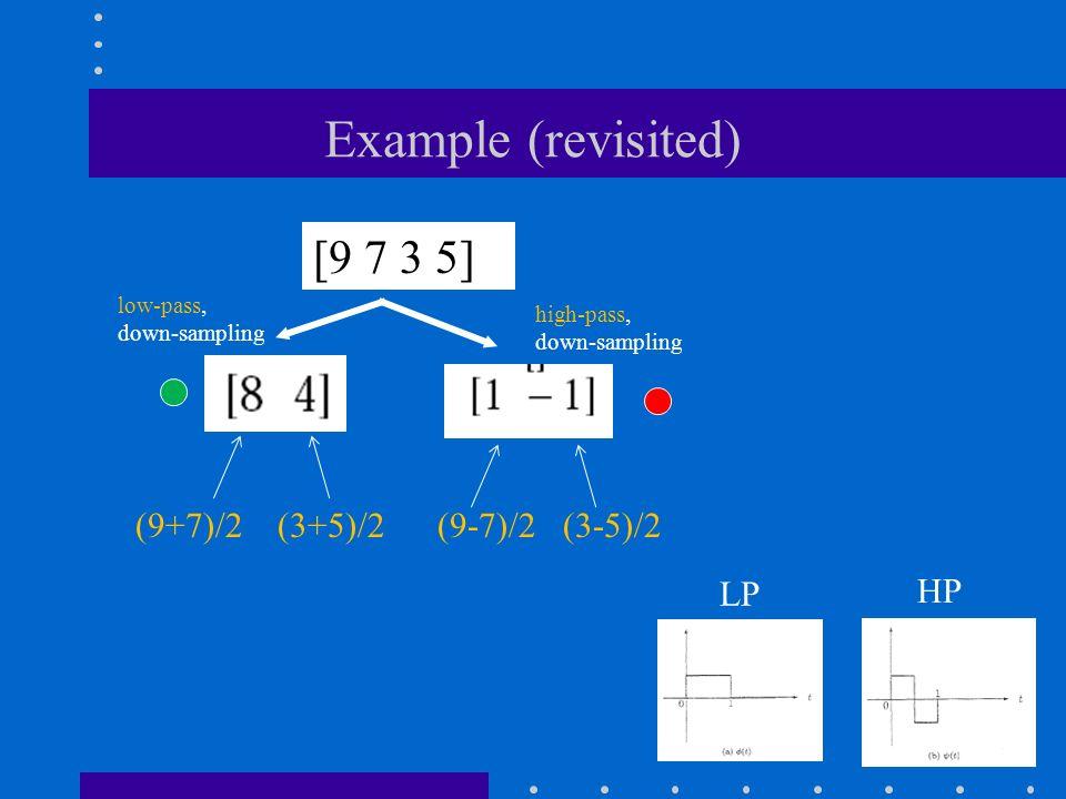 Example (revisited) [9 7 3 5] low-pass, down-sampling high-pass, down-sampling (9+7)/2 (3+5)/2 (9-7)/2 (3-5)/2 LP HP