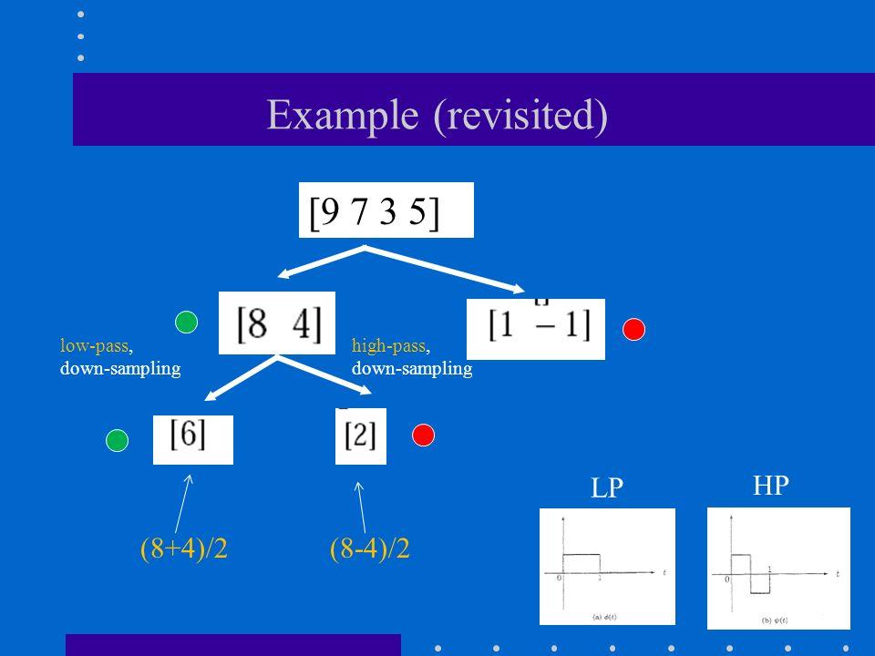 Example (revisited) [9 7 3 5] high-pass, down-sampling low-pass, down-sampling (8+4)/2 (8-4)/2 LP HP