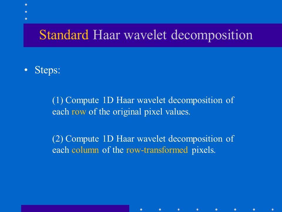 Standard Haar wavelet decomposition Steps: (1) Compute 1D Haar wavelet decomposition of each row of the original pixel values.