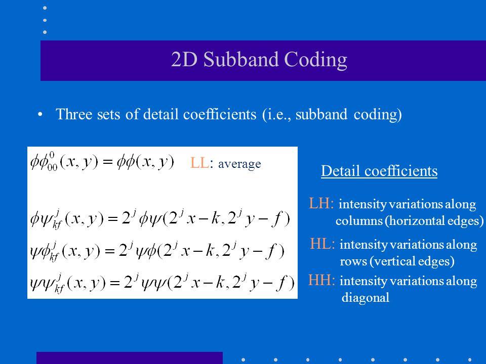 LL LH: intensity variations along columns (horizontal edges) HL: intensity variations along rows (vertical edges) HH: intensity variations along diagonal LL: average Detail coefficients Three sets of detail coefficients (i.e., subband coding) 2D Subband Coding