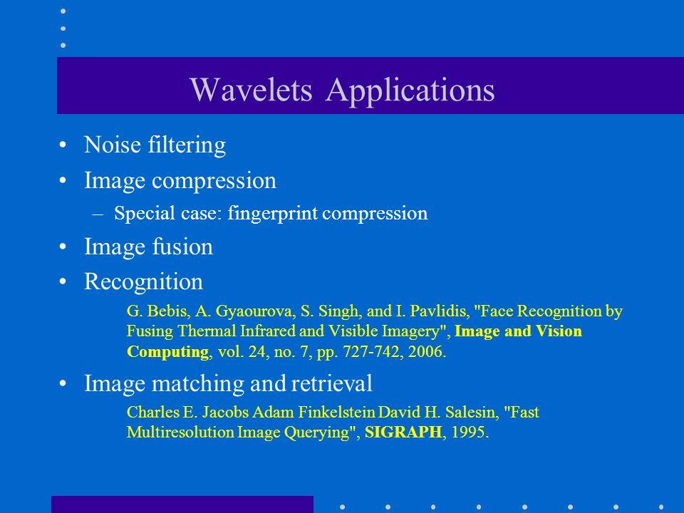Wavelets Applications Noise filtering Image compression –Special case: fingerprint compression Image fusion Recognition G.