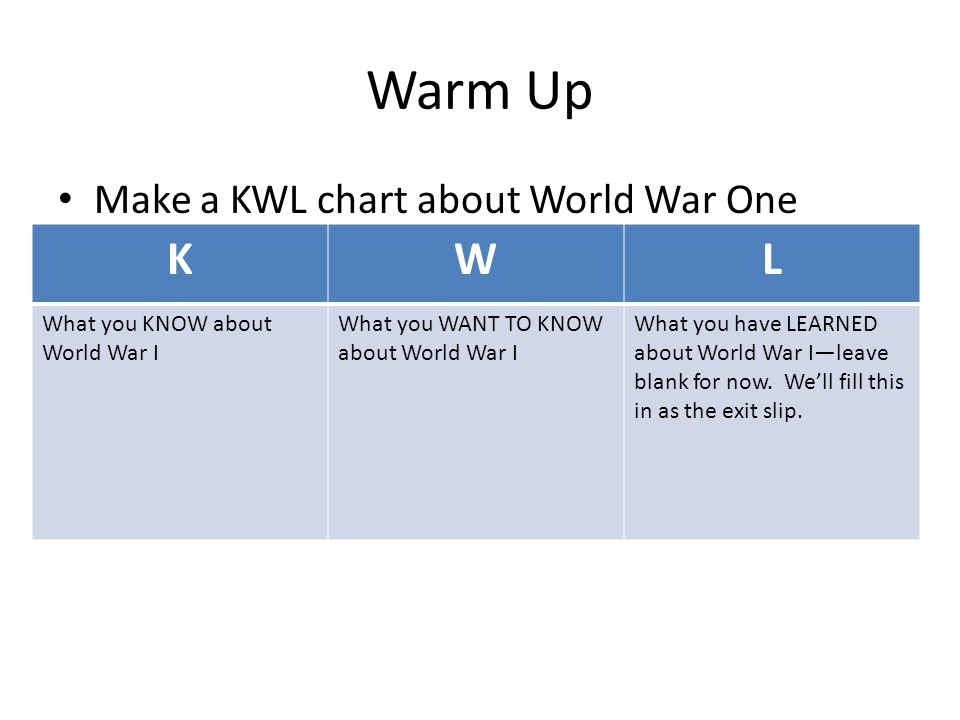 Warm Up Make A Kwl Chart About World War One Kwl What You Know