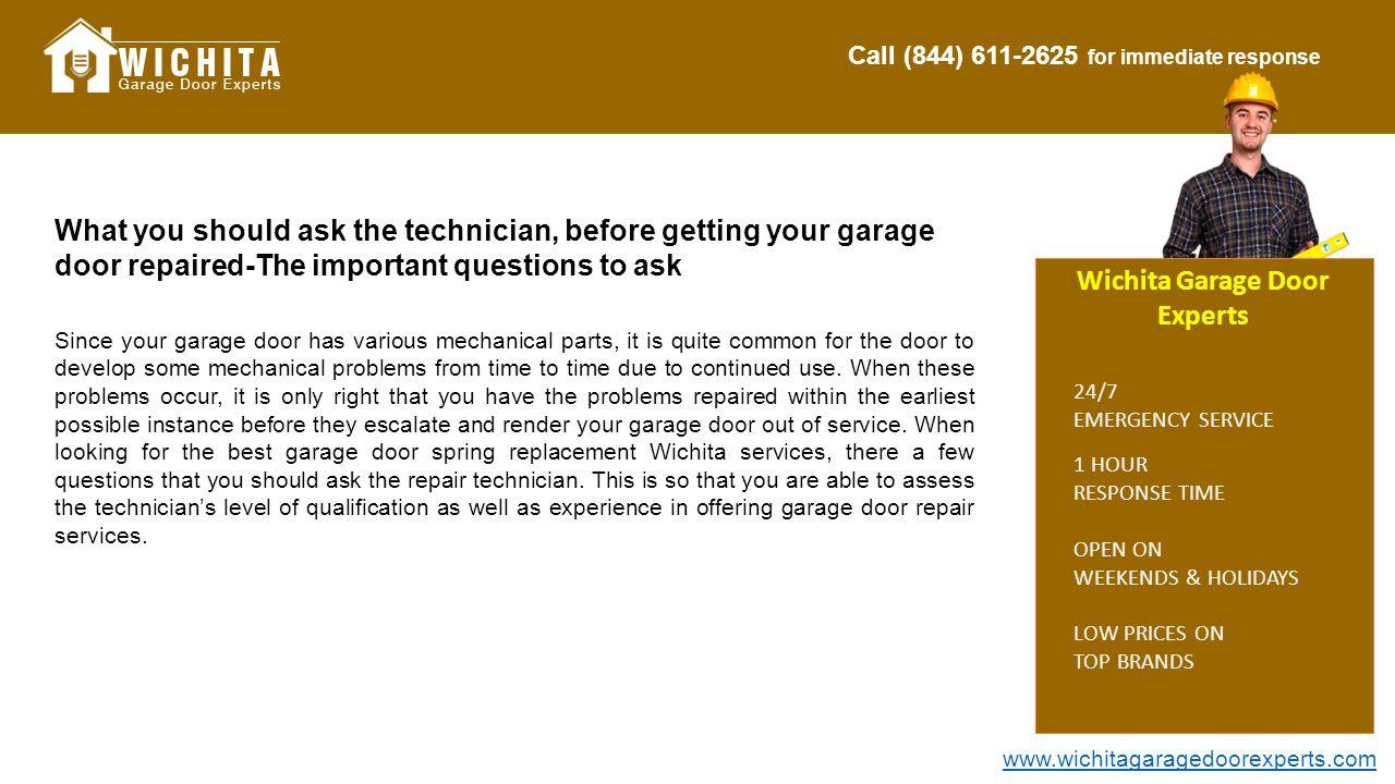 Call (844) for immediate response Wichita Garage Door Experts 1 ...