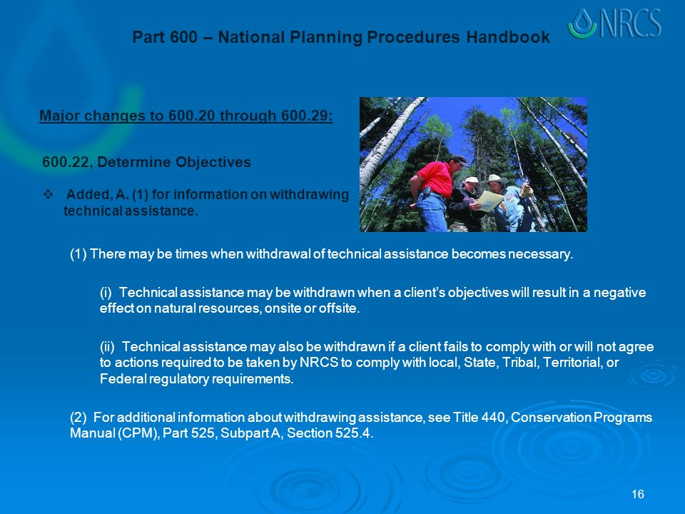 Part 600 – National Planning Procedures Handbook (1) There may be times when withdrawal of technical assistance becomes necessary.